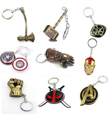 Artique Metal Alloy Marvel Merchandise Avenger Series Key chains pack of 9