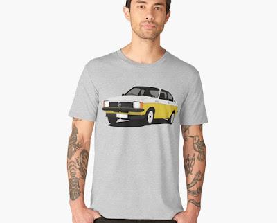 Opel Kadett GT/E  Coupe valko-keltainen  t-paita