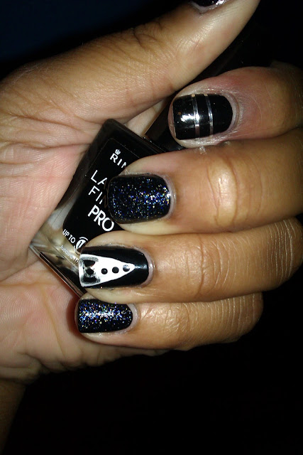 Black, tuxedo, glitter, laser tape, nail art, design, mani