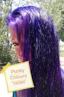 Punky Colour hair dye VIOLET purple Jerome Russell photos in sunlight