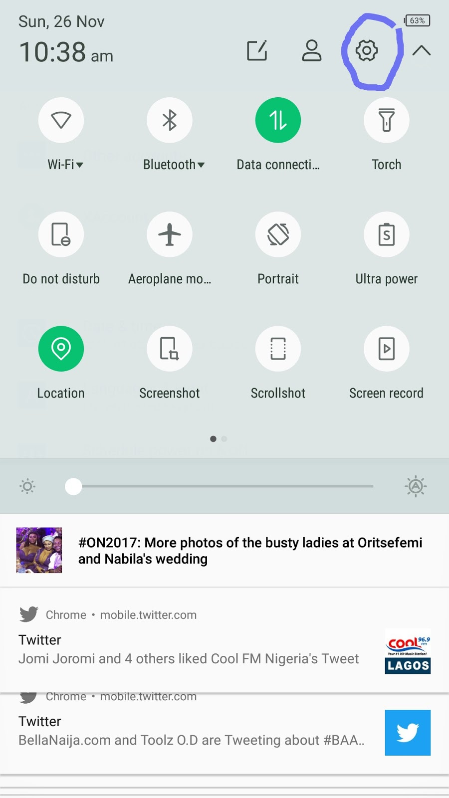 Android Nougat Quick Settings Menu