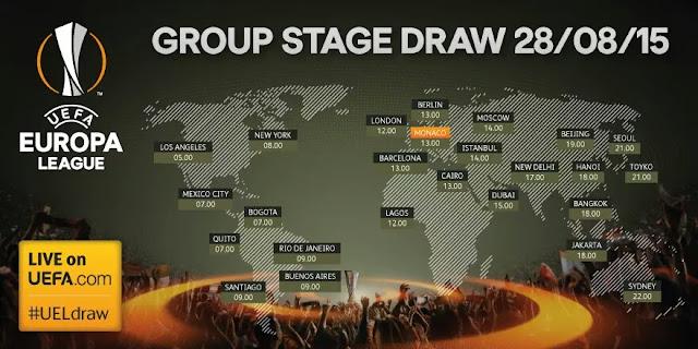 Sorteio dos grupo da Liga Europa 2015-2016: Potes, data, Horário, equipes