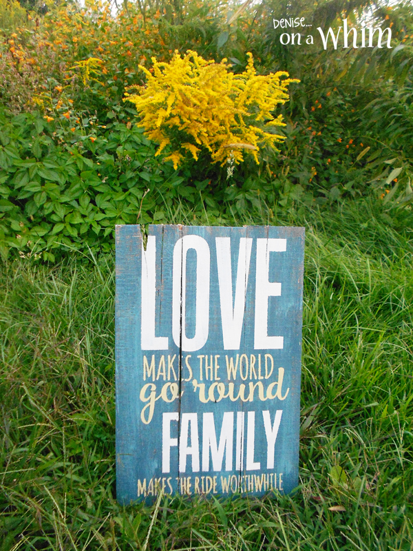 Denise On A Whim Love And Family Pallet Wood Sign