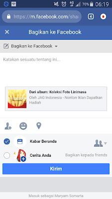 membagikan postingan kehalaman facebook