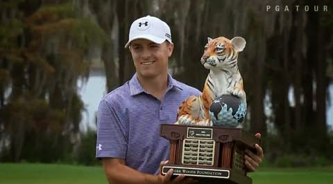 Spieth with tiger trophy