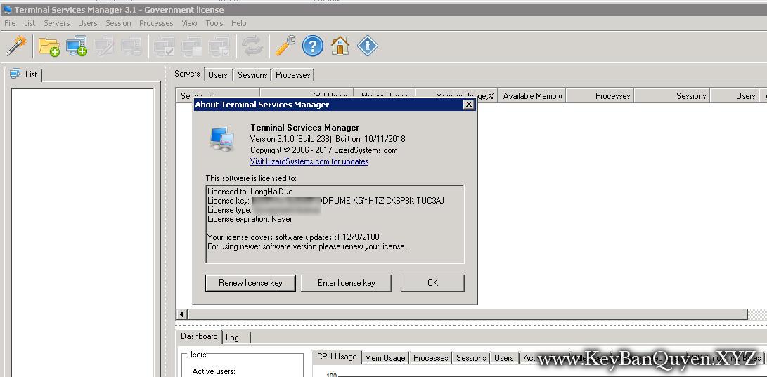 LizardSystems Terminal Services Manager 3.1 Build 238 Full Key, Quản lý các quy trình trên máy tính từ xa trong thời gian thực