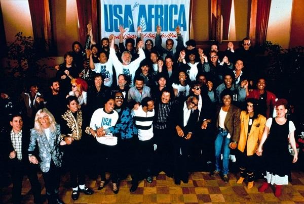 Gravação do clipe We are the World - 1985 (Imagem: Reprodução)