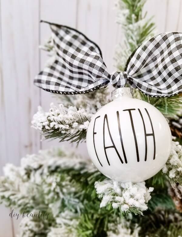 FAITH ornament with black gingham ribbon