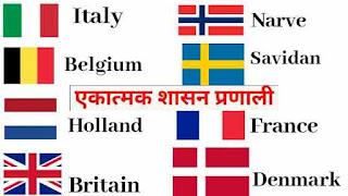 एकात्मक शासन व्यवस्था वाले देश