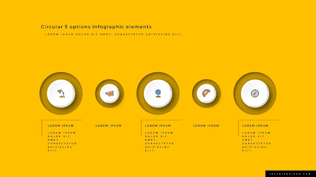 3D Circular 5 Options Infographics Elements Type B