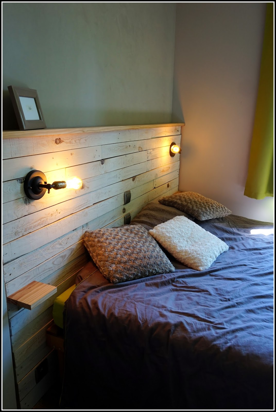 comment faire une t te de lit en bois de palette. Black Bedroom Furniture Sets. Home Design Ideas