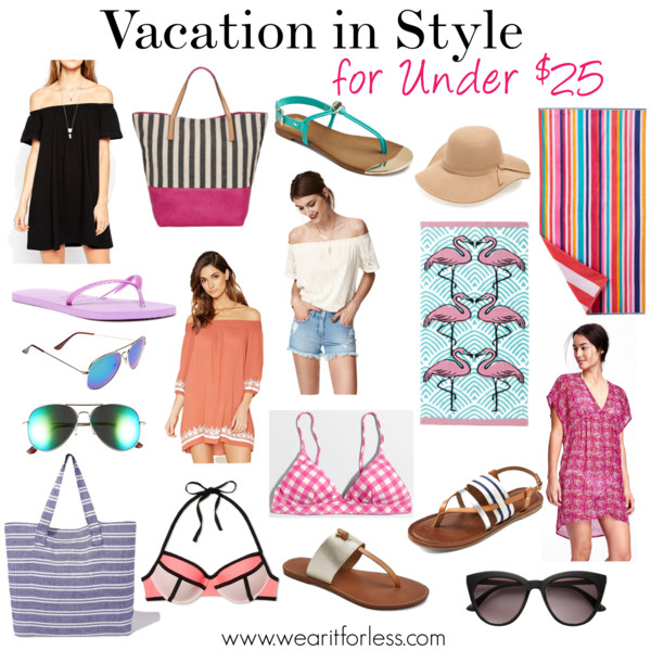 "Dotti Pareo Sarong Cover-Up • Dotti • $19.99 Factory 3"" boardwalk pull-on short • J.Crew Factory • $19.50 The Big One® Striped Beach Towel • $17.99 Havaianas Flat Flip Flop (Women) • Havaianas • $9.97 LILAC AND BLACK Lilac + Black Striped Canvas Beach Tote • $22.80 Crinkle Chiffon Kimono Cover-Up • Old Navy • $19.97 Thin Striped Beach Tote • Charming charlie • $15 Mossimo Supply Co. Women's Sonora Thong Sandals - Mossimo Supply Co. TM • $19.99 O'Neill Adela Cover-Up • O'Neill • $24.99–34.99 FOREVER 21 ankle strap espadrilles • Forever 21 • $19.90 BP. Mirrored Aviator 57mm Sunglasses • BP • $12 FOREVER 21 contemporary embroidered dress • Forever 21 • $14 Mossimo Supply Co. Women's Ainsley Thong Sandals - Mossimo Supply Co. TM • $19.99 Factory gingham triangle bikini top • J.Crew Factory • $21 H&M - Sunglasses - Black - Ladies • H&M • $12.99 FOREVER 21 chambray utility romper • Forever 21 • $19.99 OUTDOOR OASIS Outdoor OasisTM Flamingo Beach Towel • $17.99 Xhilaration® Women's Push Up Colorblock Halter Bikini Top - XhilarationTM • Xhilaration • $17.99–19.99 Leith Floppy Felt Hat • Leith • $15.60 ASOS COLLECTION ASOS Off Shoulder Mini Dress • Asos • $25 Free People Tank - Rayon Slub Long Beach • Free People • $20 H&M - Off-the-shoulder Top - Black/patterned - Ladies • H&M • $9.99 dv Women's dv Kensley Thong Sandals • $22.99 Factory 4"" scallop-hem short • J.Crew Factory • $24.50"