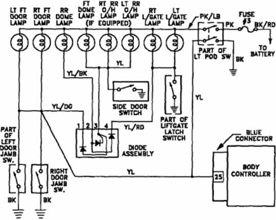 Plymouth Voyager 1992 Interior Light Wiring Diagram | All