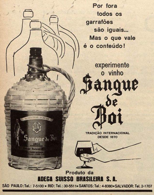 Propaganda de 1965 do vinho Sangue de Boi promovendo a qualidade da bebida