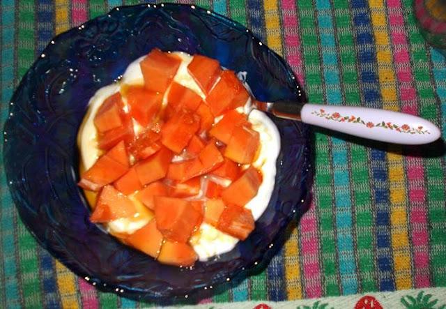Ideia de lanche rápido e saudável com iogurte e mamão