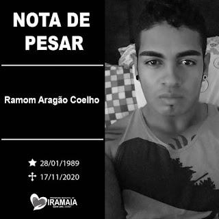Prefeitura de Iramaia emite nota de pesar pelo falecimento do jovem Ramom Aragão