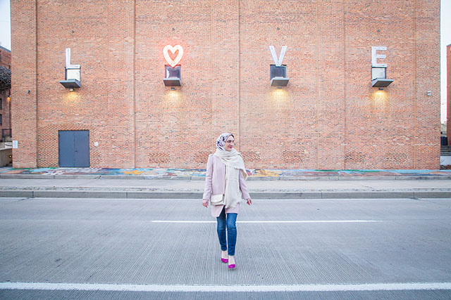 Valentine's Day Outfit, Pink Coat, Free People Scarf, Purple Pumps, American Visionary Art Museum Baltimore, Hijabi Fashion, MAC Flat Out Fabulous Lipstick, J. Crew Toothpick Jeans, fashion blogger, Modest Fashion,