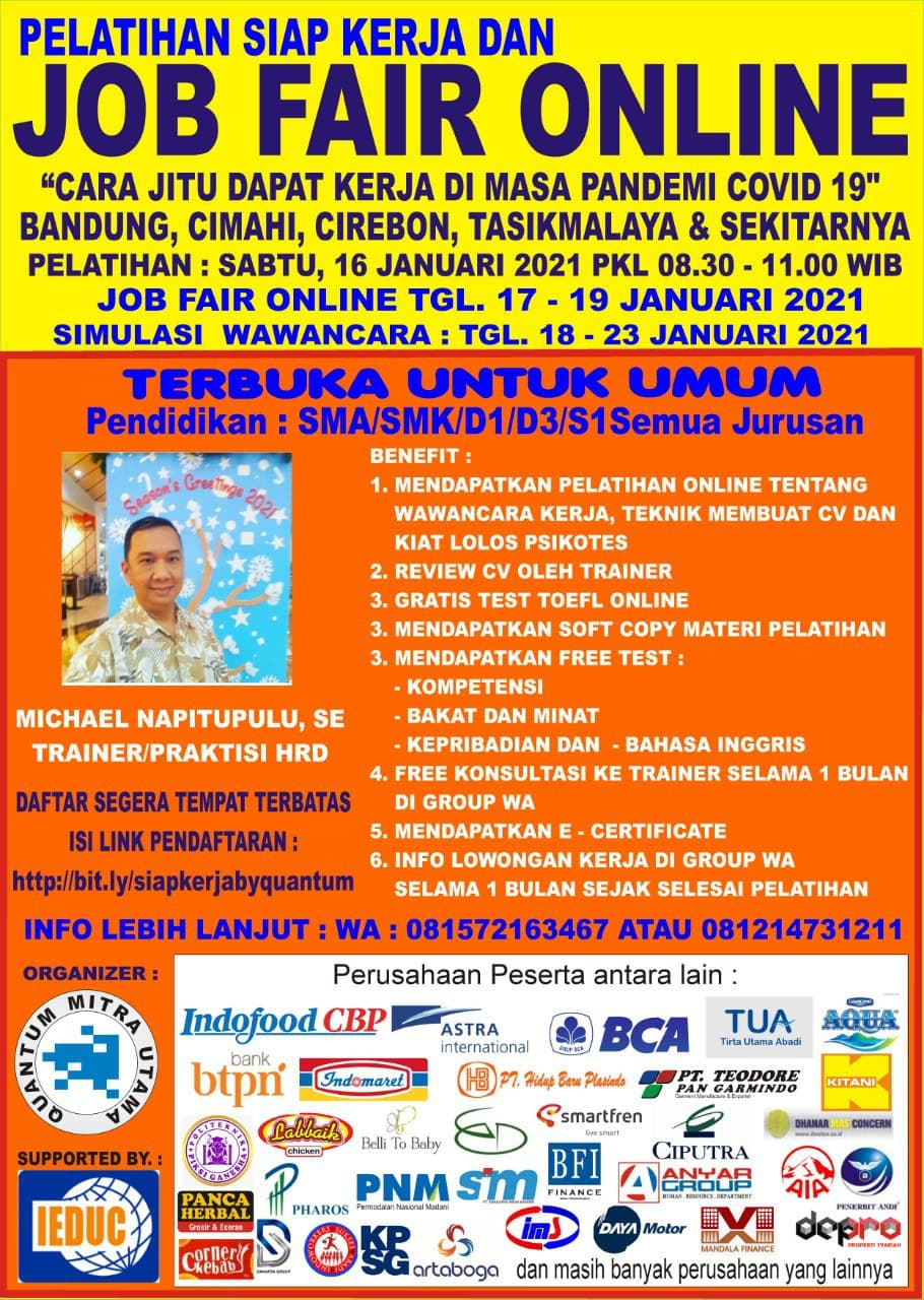 Job Fair Online 16 Januari 2021