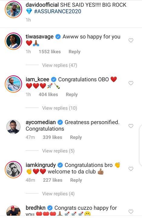 Tiwa Savage, Peter Okoye, Wizkid Baby Mama, Others React As Davido Proposes To Chioma