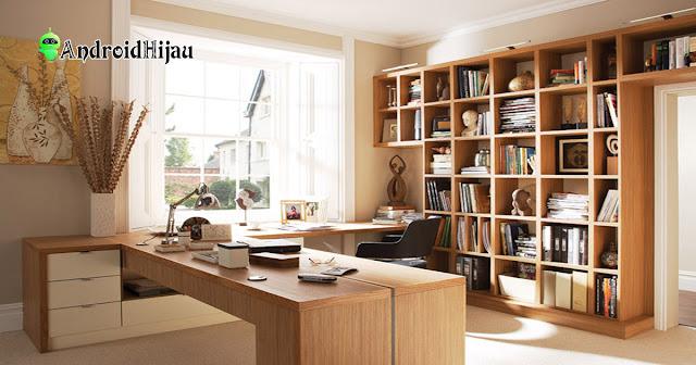 inspirasi ruang kerja rumah dengan material kayu modern