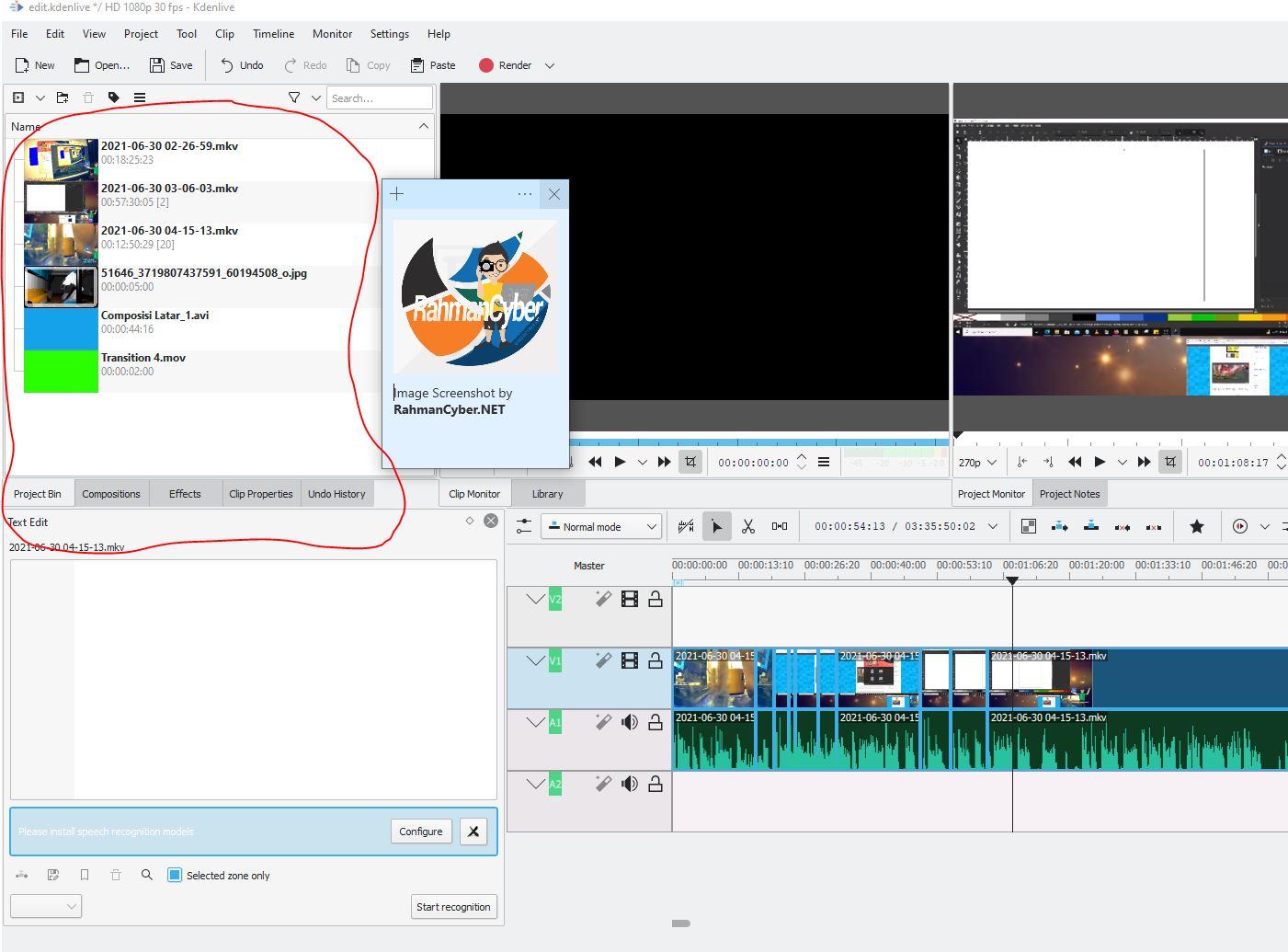 project bin kdenlive video editor