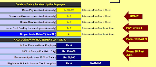 Income Tax HRA Exemption Calculator U/s 10(13A),Income Tax Home Loan U/s 24B,how to calculate HRA Exemption Calculation U/s 10(13A),Excel Based Income Tax Software for F.Y. 2019-20 3