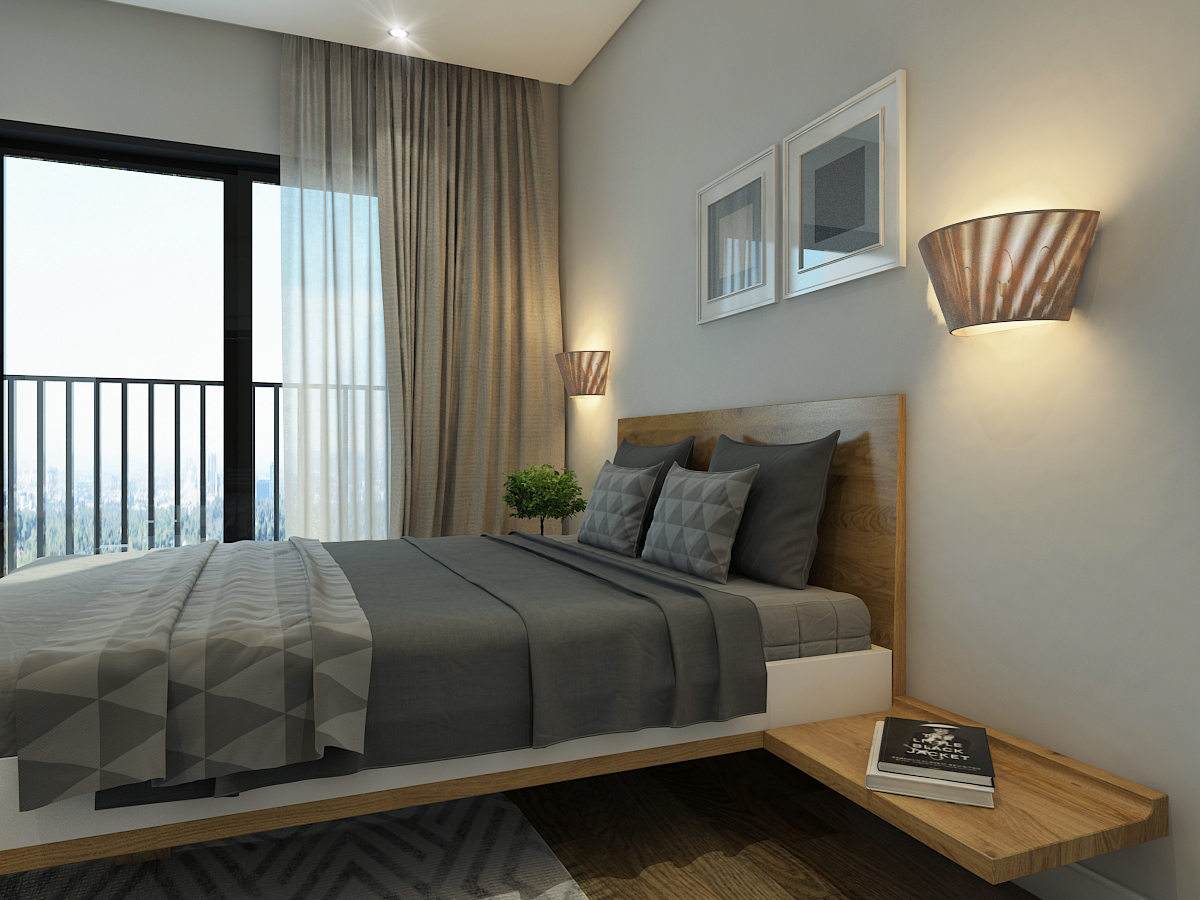 Phòng ngủ yên tĩnh thoáng mát ấm cúng tại chung cư The Golden Palm