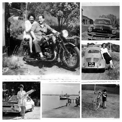 Album photos anciennes en noir et blanc : automobiles et tous moyen de transport