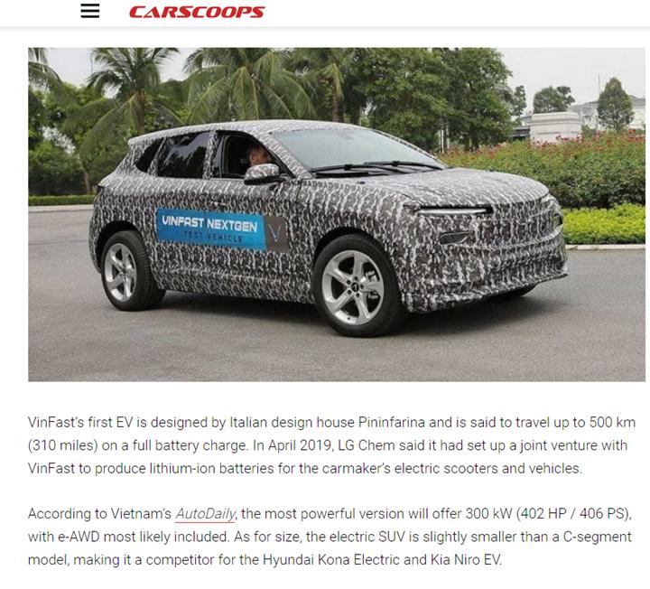 Báo Mỹ nói gì về tham vọng xuất khẩu ô tô điện của VinFast