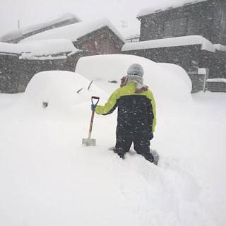 大雪の時の福井にいる二男の自宅アパートの駐車場