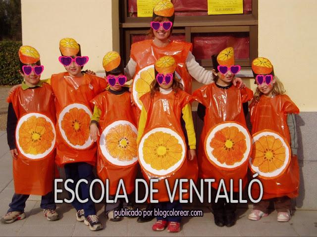 3 - Disfraz escolar de naranja con bolsa de plástico