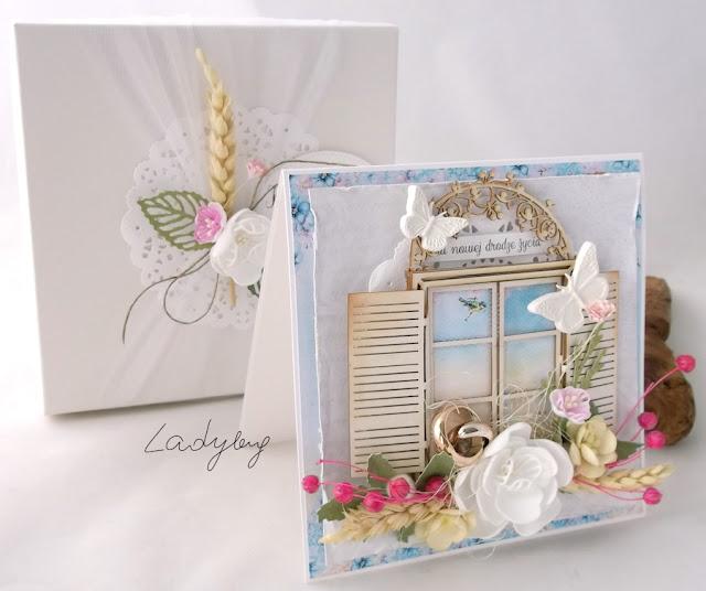 Z oknem - kartka ślubna