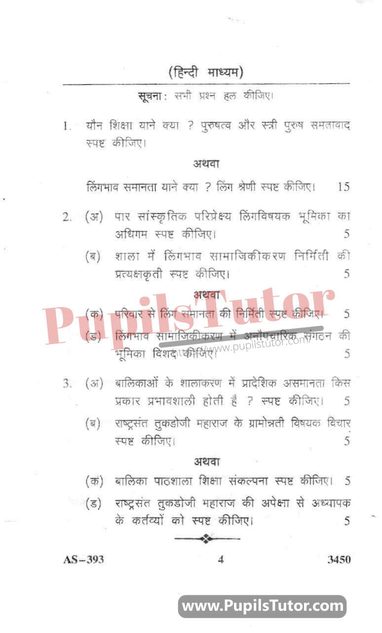 Gender School And Society Question Paper In Hindi