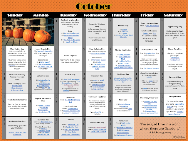 Academic, social emotional and downright entertaining ideas for every day in October with your preschool, kindergarten, first, second, third, fourth, fifth and sixth grade learners with selected complementary link pairings.