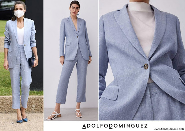 Queen Letizia wore Adolfo Dominguez blazer and pants
