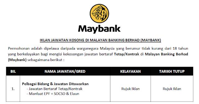 permohonan jawatan kosong maybank