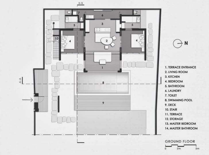 Ground floor plan of Exotic contemporary style house in Bali