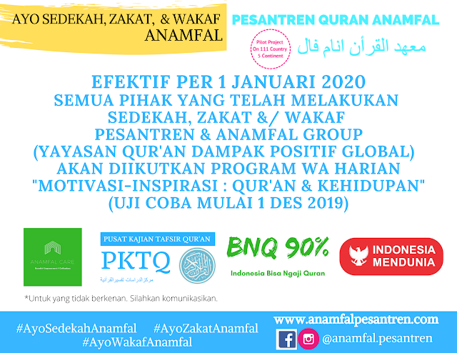 Bisa Ngaji Quran (BNQ) : Program WA Harian Motivasi-Inspirasi - Quran dan Kehidupan