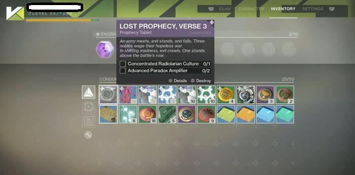 destiny 2 lost verses