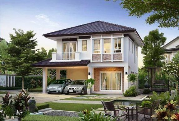 Rumah minimalis 2 lantai atap limasan dengan lahan yang luas