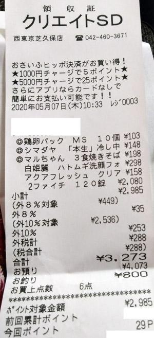 クリエイトSD 西東京芝久保店 2020/5/7 のレシート