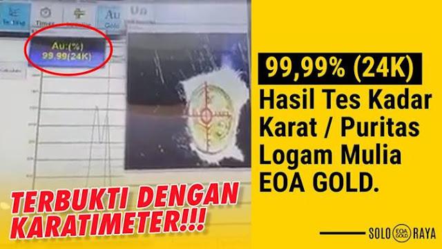 Puritas EOA Gold dengan alat Karatimeter