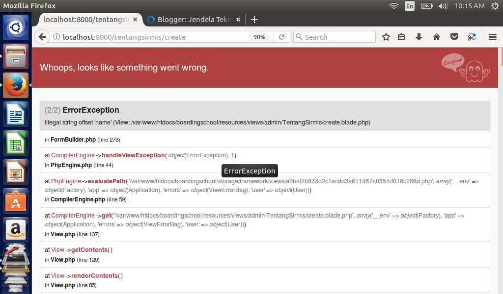 Illegal string offset 'name' (View: /var/www/htdocs/boardingschool/resources/views/admin/TentangSirmis/create.blade.php)