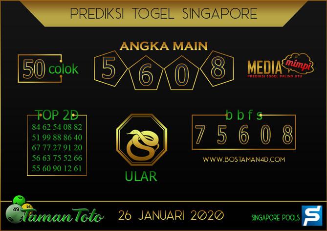 Prediksi Togel SINGAPORE TAMAN TOTO 26 JANUARI 2020