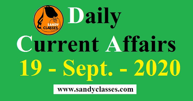 Daily Current Affairs in Hindi / English - 19 September 2020