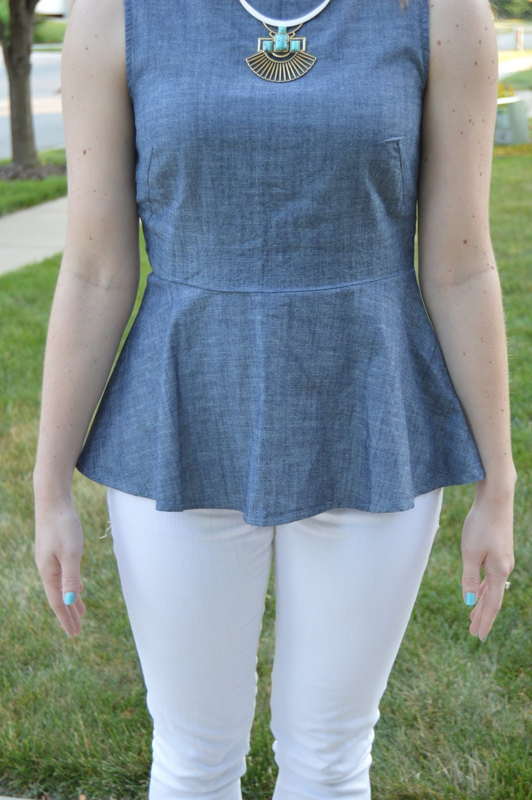 peplum top from banana republic | stella and dot sunray pendant necklace | a memory of us | summer outfit ideas | summer lookbook | what to wear this summer | summer street style |