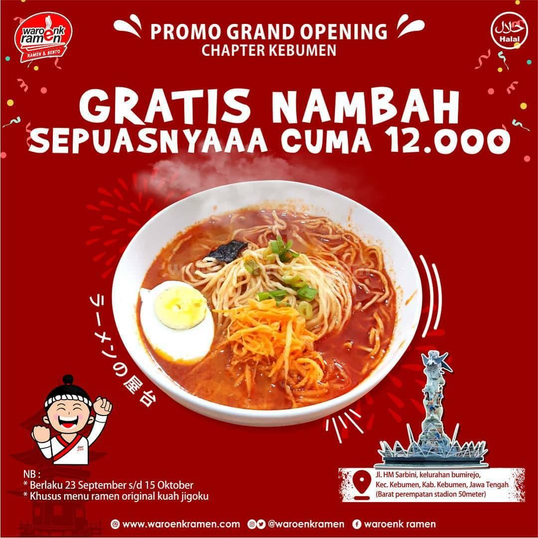 Waroenk Ramen Promo Opening Chapter Kebumen Gratis Nambah Sepuasnya Cuma 12Rb