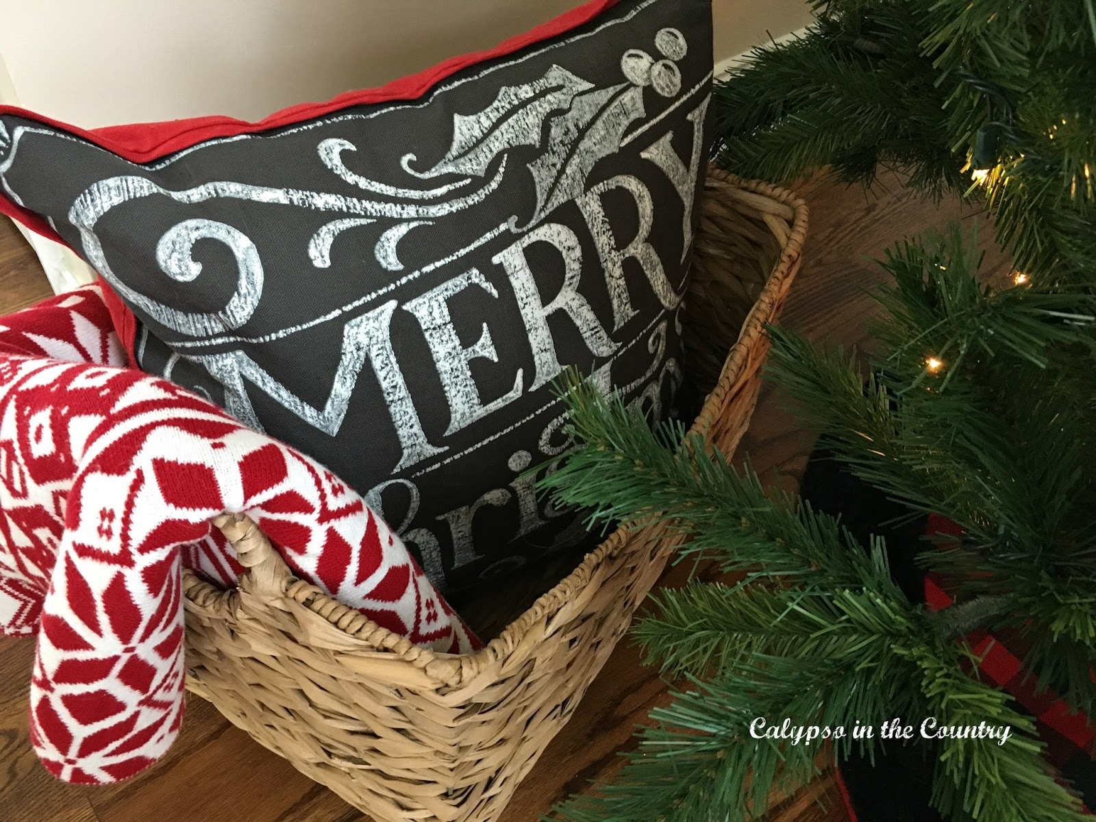 Red and Black Pillow for Christmas
