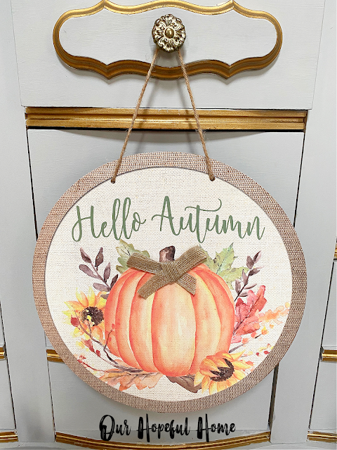 Hello Autumn round fall hanging sign burlap bow