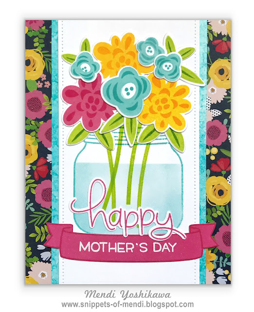 Snippet By Mendi: Lawn Fawn Mother's Day Card by Mendi Yoshikawa (using Fab Flowers, How You Bean, Bannertastic & Happy Happy Happy)
